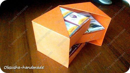 Моя проба пера по освоению дизайна новой коробочки на 36 шоколадок.  Отличная идея для подарка на день рождения, свадьбу, день учителя или другому поводу!  Просто идеальная коробочка, рассчитанная на три  яруса, в которых можно, как положить одинаковые по стилистике обертки, так и разные, например, как я из имеющегося материала, сложила этот кубик. Первый ярус - кофейная тематика, второй ярус - шоколад для вечно худеющих, третий слой - с днем рождения.  Спасибо за МК: http://stranamasterov.ru/node/998669?c=favorite. Пришлось, конечно, сделать свои расчеты, но коробочка вышла отличная! Буду теперь работать над внешним дизайном. Еще раз огромное спасибо за идею и МК мастерице Страны Мастеров! фото 9