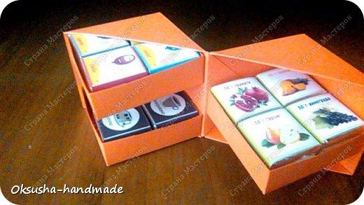 Моя проба пера по освоению дизайна новой коробочки на 36 шоколадок.  Отличная идея для подарка на день рождения, свадьбу, день учителя или другому поводу!  Просто идеальная коробочка, рассчитанная на три  яруса, в которых можно, как положить одинаковые по стилистике обертки, так и разные, например, как я из имеющегося материала, сложила этот кубик. Первый ярус - кофейная тематика, второй ярус - шоколад для вечно худеющих, третий слой - с днем рождения.  Спасибо за МК: http://stranamasterov.ru/node/998669?c=favorite. Пришлось, конечно, сделать свои расчеты, но коробочка вышла отличная! Буду теперь работать над внешним дизайном. Еще раз огромное спасибо за идею и МК мастерице Страны Мастеров! фото 11