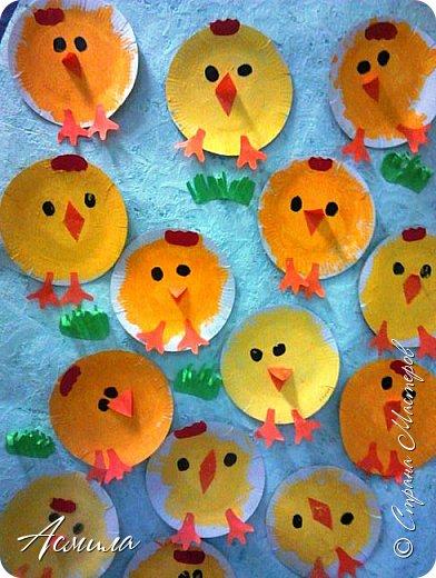 Весёлых тарелочных цыплят делали с трёхлетками ещё по осени.  Также  можно приурочить изготовление таких цыпляток к празднику Пасхи. И в летние деньки такая поделка  будет актуальна. фото 1