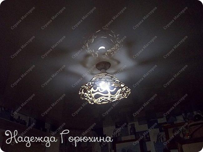 Доброго времени, доброго лета! Что-то подзабыла я о работе, которую выполнила в дополнение к уже готовому абажуру, мастер-класс по нему можно посмотреть здесь http://stranamasterov.ru/node/956655 и здесь продолжение  http://stranamasterov.ru/node/961852 Размер абажуров тот же: нижний диаметр 270 мм, высота 150 мм Материал использованный при изготовлении - джут натурального цвета Эта пара абажуров сделана прозрачнее, для того, что бы в гостиной зоне комнаты было светлее, чем в зоне кухни. фото 8