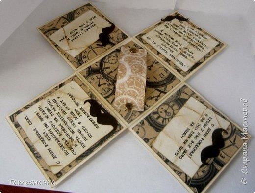 Открытка для мужчины, не обычной формы в виде коробочки. Сделана из кардстока, фон скрапбумага, украшена вырезными элементами. Размер 10х10. фото 2