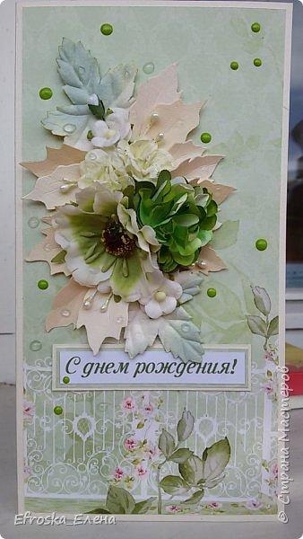 На день рождения подруги сотворилась вот такая открытка.  Бумага от ScrapBerry's коллекция In Bloom Цветочки готовые, листья готовые и лепестки от вырубки Пуансетия.  Ну и конечно дотсы и прозрачные дропсы от Фабрики Декора. фото 1