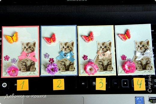 """Всем привет. Это моя новая серия АТС про котят. Эти картинки я взяла из зоомагазина """"Четыре лапы"""". Они были на рекламке и я их вырезала.  Я сделала всё объёмное. И бабочки и цветочки. Внутри цветочков золотые сердечки (брадс). Бантики мне завязала мама, а я их прошила для крепкости. И ещё сверху добавила блестючки. Отдам котят в хорошие руки :) фото 1"""