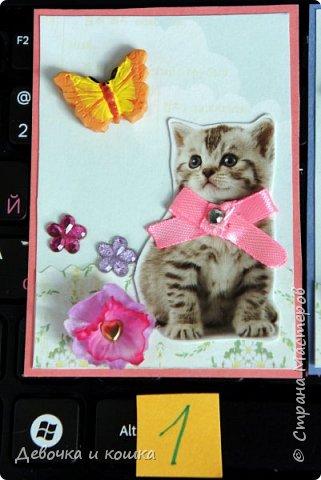 """Всем привет. Это моя новая серия АТС про котят. Эти картинки я взяла из зоомагазина """"Четыре лапы"""". Они были на рекламке и я их вырезала.  Я сделала всё объёмное. И бабочки и цветочки. Внутри цветочков золотые сердечки (брадс). Бантики мне завязала мама, а я их прошила для крепкости. И ещё сверху добавила блестючки. Отдам котят в хорошие руки :) фото 2"""