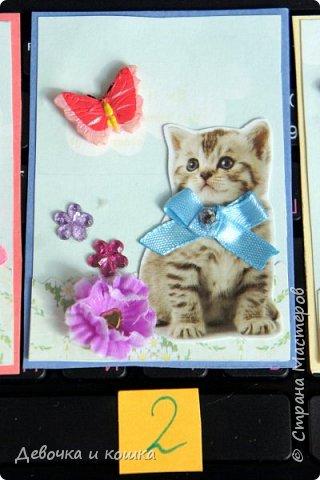 """Всем привет. Это моя новая серия АТС про котят. Эти картинки я взяла из зоомагазина """"Четыре лапы"""". Они были на рекламке и я их вырезала.  Я сделала всё объёмное. И бабочки и цветочки. Внутри цветочков золотые сердечки (брадс). Бантики мне завязала мама, а я их прошила для крепкости. И ещё сверху добавила блестючки. Отдам котят в хорошие руки :) фото 3"""