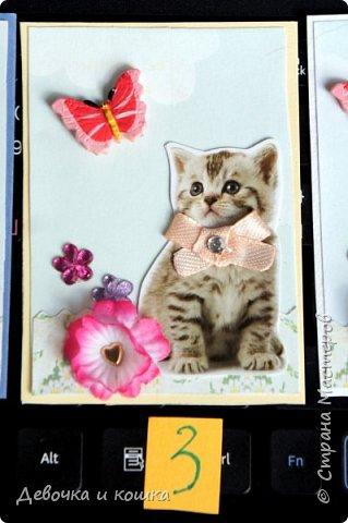 """Всем привет. Это моя новая серия АТС про котят. Эти картинки я взяла из зоомагазина """"Четыре лапы"""". Они были на рекламке и я их вырезала.  Я сделала всё объёмное. И бабочки и цветочки. Внутри цветочков золотые сердечки (брадс). Бантики мне завязала мама, а я их прошила для крепкости. И ещё сверху добавила блестючки. Отдам котят в хорошие руки :) фото 4"""