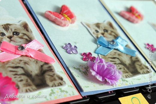 """Всем привет. Это моя новая серия АТС про котят. Эти картинки я взяла из зоомагазина """"Четыре лапы"""". Они были на рекламке и я их вырезала.  Я сделала всё объёмное. И бабочки и цветочки. Внутри цветочков золотые сердечки (брадс). Бантики мне завязала мама, а я их прошила для крепкости. И ещё сверху добавила блестючки. Отдам котят в хорошие руки :) фото 7"""