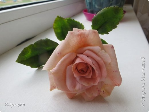 Доброго времени суток, СМ! Продолжаю осваивать хф и в частности розы. Сегодня хочу поделиться с Вами своей садовой розочкой. Вышла она не большая -  около 20 см (точно не измеряла).  фото 7