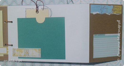 """Доброго дня всем мастерицам!! После небольшого перерыва на отдых спешу представить свою новую работу Альбомчик для путешествий, размер 21х15, двадцать страничек, использовала набор бумаги """"Путешествие"""", бумагу для пастелей, крафт бумагу. Для обложки использовала обои. Никаких объёмов не делала, чтобы было удобно в дорогу взять, делать заметки, записи какие либо...в общем книга """"дорожная"""", на заказ и ещё не оформлена фотографиями, ждёт заполнения) фото 6"""