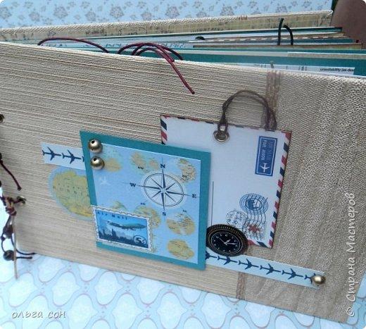 """Доброго дня всем мастерицам!! После небольшого перерыва на отдых спешу представить свою новую работу Альбомчик для путешествий, размер 21х15, двадцать страничек, использовала набор бумаги """"Путешествие"""", бумагу для пастелей, крафт бумагу. Для обложки использовала обои. Никаких объёмов не делала, чтобы было удобно в дорогу взять, делать заметки, записи какие либо...в общем книга """"дорожная"""", на заказ и ещё не оформлена фотографиями, ждёт заполнения) фото 30"""