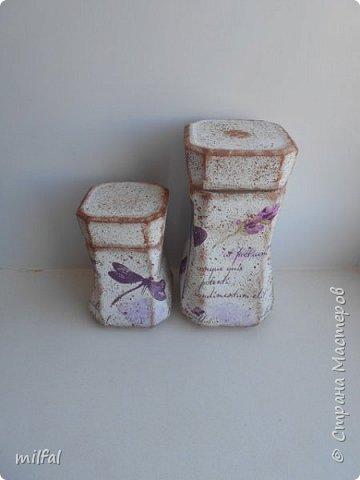 Баночки из-под кофе.Салфетка,краски,лак. фото 3