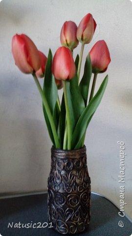 Еще одна ваза, листики и ягодки из самоварного ХФ фото 2