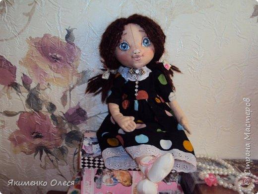 Моя куколка- Милана. Сшита из ткани-хлопок, личико расписано - акриловыми красками, тело тонировано- пастелью. Волосики из пряжи. фото 1