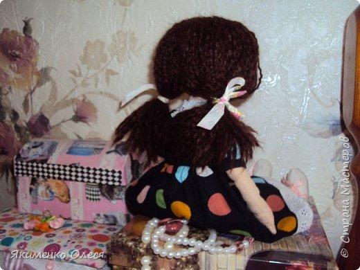 Моя куколка- Милана. Сшита из ткани-хлопок, личико расписано - акриловыми красками, тело тонировано- пастелью. Волосики из пряжи. фото 4