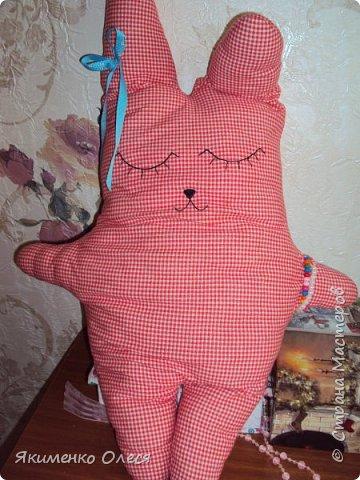 Зайка-баюн для любимой доченьки! Сшит из трикотажа, глазки, носик вышиты. фото 2