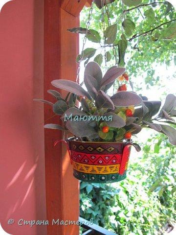 """Я уже вам показывала свою """"мексиканскую"""" террасу http://stranamasterov.ru/node/819975 . Продолжаю ее потихоньку дополнять. Вот, сделала композиции из искусственных веток, и к ним - кашпо фото 2"""