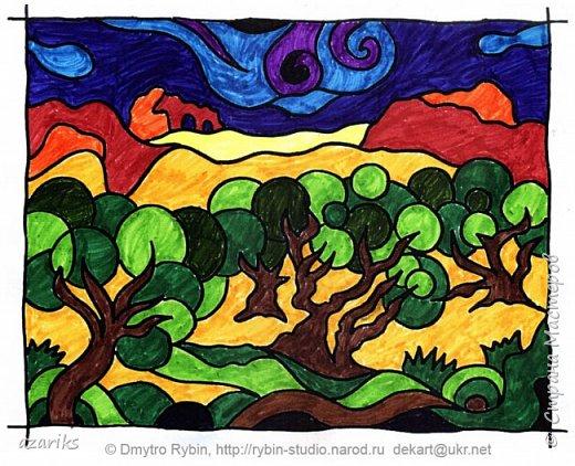 Процесс раскрашивания картины / раскраски по мотивам картины Ван Гога. Раскрашивание производится фломастерами. фото 1