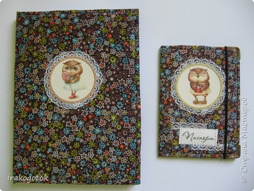 """Набор """"СОВЫ """" : блокнот формат А - 6 + обложка на паспорт из ткани. фото 3"""