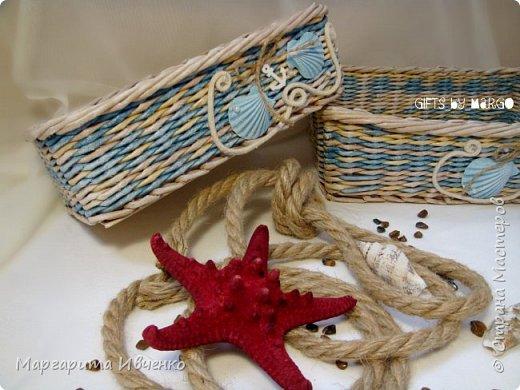 """Добрый день всем! Я сплела свою первую морскую тематику. Набор корзинок """"Лазурный берег"""" Размер (д*ш*в):Большая: 30*24*9смМаленькая: 27*18*9 см. Спица 1,5мм, полоски 10,5см, газетная кромка. Красила желтые: вм лиственница. Беж: вм орех сильно разбавленный водой. Синий: колер синий+грунтовка+лак. Грунтовала пва строительный+вода. Лак для бань и саун. Дно из картона обклеила клеющимися обоями под дерево.  Скорее всего они пойдут как приз для розыгрыша в моей группе. фото 2"""