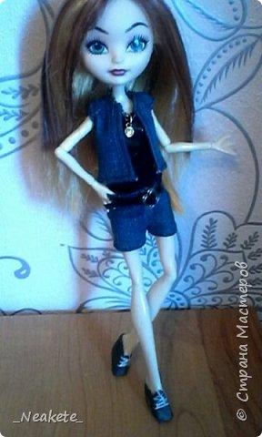 """Всем привет! Мы с Амелией участвуем в конкурсе """"Мисс Июль"""". Специально для конкурса я сшила вот такой вот летний джинсовый костюмчик с топиком.  фото 10"""