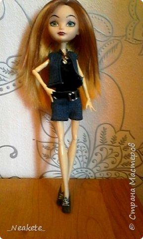 """Всем привет! Мы с Амелией участвуем в конкурсе """"Мисс Июль"""". Специально для конкурса я сшила вот такой вот летний джинсовый костюмчик с топиком.  фото 12"""