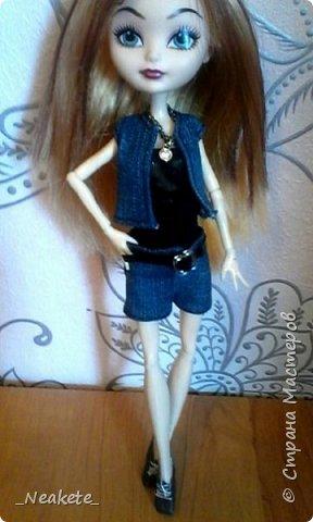 """Всем привет! Мы с Амелией участвуем в конкурсе """"Мисс Июль"""". Специально для конкурса я сшила вот такой вот летний джинсовый костюмчик с топиком.  фото 8"""