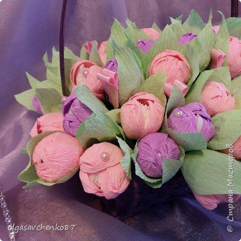 Корзина розово - сиреневых крокусов с рафаэлло!!!!  фото 3