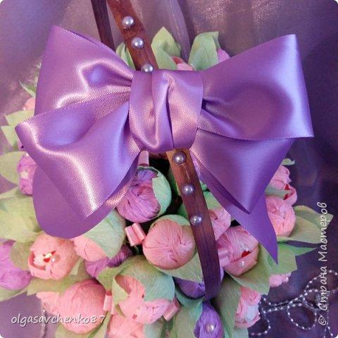 Корзина розово - сиреневых крокусов с рафаэлло!!!!  фото 5