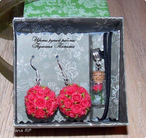 серьги и подвеска- бутылочка с розочкой 1.5 см фото 1