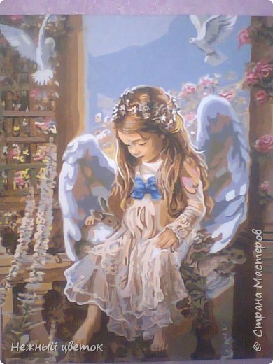 Девочка-ангел и голуби. Ещё одна картина по номерам.  Размер картины 40х50