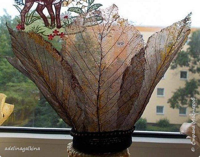 чёрная ваза из скелетированных листьев каштана фото 2