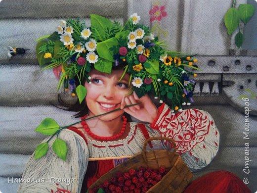"""Здравствуйте, дорогие друзья, жители замечательной Страны Мастеров!!! Хочу показать вам летнюю работу к моей коллекции """"Времена года"""". Лето - самое теплое и яркое время, не удивительно, что для большинства людей это любимый период в году. Лето нас радует яркими красками летних цветов, в сколько их и не перечесть. И конечно разными вкусными ягодами... Все цвета радуги радуют глаз. Много писать не буду. Хочу пожелать всем вам счастья и добра!!! Хорошего настроения!!! В свою коллекцию подобрала работу Татьяны Дорониной и вот сделала в своей любимой технике квиллинг с добавлением элементов в технике бумагопластика. Формат картины - 40 х 40 см. Фон - бумага для пастели, тонировала сухими мелками для пастели. Использовала бумажные полосы - 1,5 мм. Приятного просмотра!!!   фото 13"""