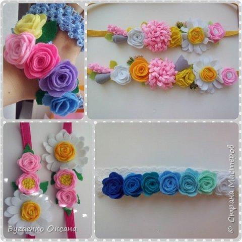 Повязки, ободки, заколочки украшеные цветами из фетра