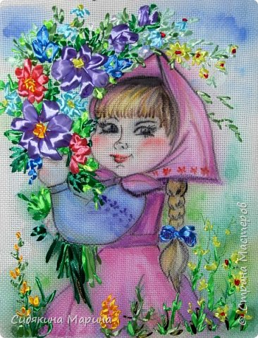 "картина ""По полю гуляла, цветы собирала"" фото 1"