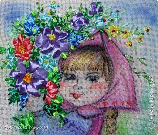 "картина ""По полю гуляла, цветы собирала"" фото 2"