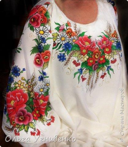 Приветствую всех жителей и гостей прекрасной СТРАНЫ МАСТЕРОВ!! Представляю свою новую работу в технике батика: ураинская сорочка-малеванка. Это купон (отрез ткани) для изготовления блузы в украинском стиле. Написана на натуральном крепдешине. фото 1