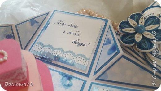 Добрый день дорогие гости моей странички! Хочу показать Вам коробочку. Попросили сделать в синих тонах. Жду  ваших отзывов. Приятного просмотра. фото 6