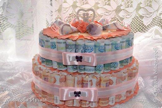 Вот такой чудесный тортик получился в подарок на свадьбу! фото 3
