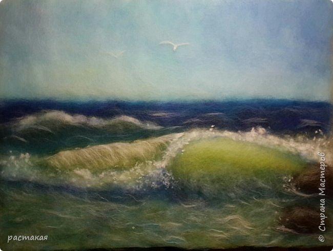 Море. Картина из шерсти.