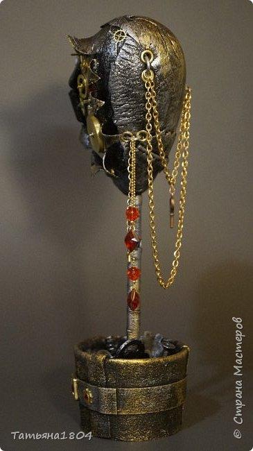 """Топиарий """"Механическое сердце"""". Высота 25 см. Натуральная кожа, детали часового механизма, стразы Сваровски, стразы стеклянные, цепи.  фото 6"""