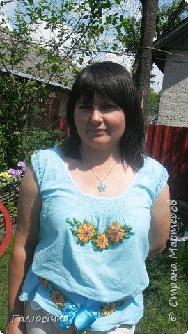 Вишита блузка бісером і поясок до неї фото 1