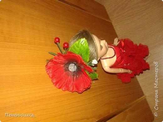 """Всем привет!!! Сегодня я к  вам с работой на конкурс """"Мисс июль"""" . Для конкурса я сшила красное платье. на данный образ меня натолкнула моя заколка, которую я случайно нашла в шкафчике, и тогда я решила, сделать девушку в образе алого цветка - мака.  фото 6"""