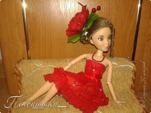 """Всем привет!!! Сегодня я к  вам с работой на конкурс """"Мисс июль"""" . Для конкурса я сшила красное платье. на данный образ меня натолкнула моя заколка, которую я случайно нашла в шкафчике, и тогда я решила, сделать девушку в образе алого цветка - мака.  фото 2"""