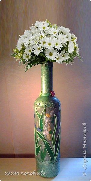 Вечер добрый!Я сегодня-с небольшим сообщением. Мы с Ксюшей ,моей ученицей,сделали вот такие подарки ее маме и папе на день рождения.Ваза на основе очень высокой бутылки-65см.Цветочный узор,контур-салфеточные жгутики,подрисовка акриловыми жемчужными красками,лак акриловый. фото 1