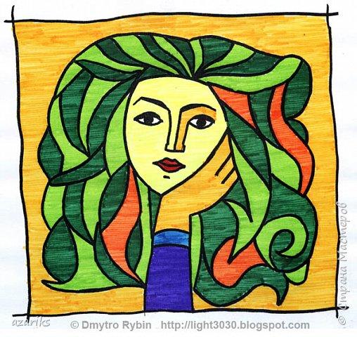 Раскрашиваем фломастерами портрет по мотивам рисунка Пабло Пикассо. Процесс творческий и арттерапевтический. фото 1