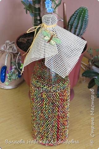 Оплетённые вазы, бутылки, шкатулки. фото 5