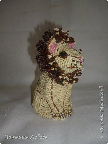 Львенок из бисера на каркасе фото 3