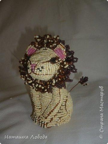 Львенок из бисера на каркасе фото 5