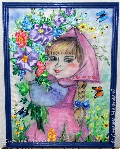 "картина ""По полю гуляла, цветы собирала"" фото 3"