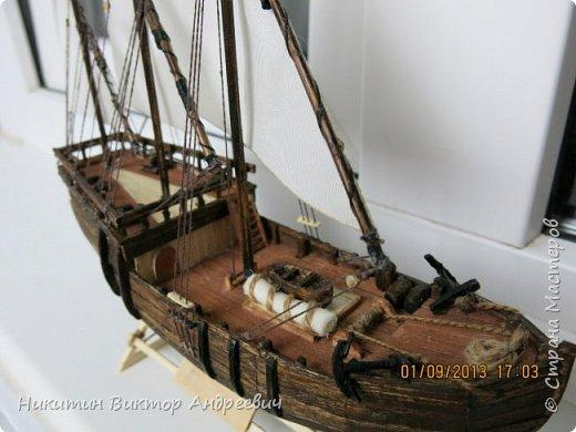 Вашему вниманию предлагается каравелла Нинья, одно из судов Колумба. Процесс изготовления тот же, что и в моей работе по созданию китайской Джонки. Во всех моих работах покупается только клей и краски. Остальные материалы - это как правило отслуживший деревянный мусор :-) фото 27